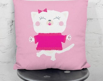 Pink kid pillow case with a dancing kitty, decorative cushion cover,children throw pillow,cushion cover,nursery,pillow case,cushion cover