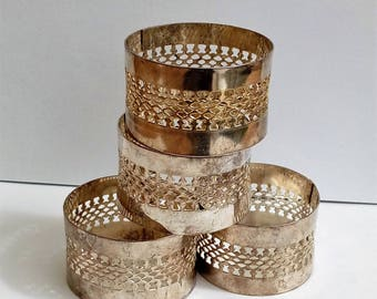 Set of 4 Vintage metal napkin rings serviette holders
