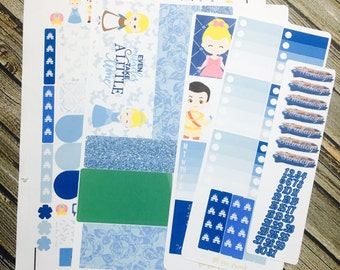 Cinderella Glass Slipper Full Kit Weekly Planner Stickers Set, for use with  Erin Condren Life Planner, Happy Planner
