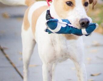 Bonz Plush Dog Bone Toy With Squeaker in Navy Blue Eden Twill
