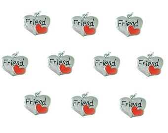 Wholesale Lot of 10 Silver Tone Charms with Jump Rings Attached ~ Friend ~ Sister ~ Mother & Daughter