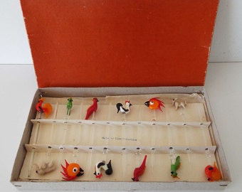 Vintage 1930's Czech  Bohemian Glass Cocktail Sticks Stirrers Muddlers In Original Box Art Deco Animals Tropical Birds Barware