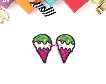 Set 2pcs. Green Ice Cream Cone with Sugar Topping, Sweet New Sew / Iron On Patches Size 2.2cm.x3.4cm.