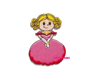 Pink Lady Princess New Sew / Iron On Patch Embroidery Applique Size 5.3cm.x7.6cm.