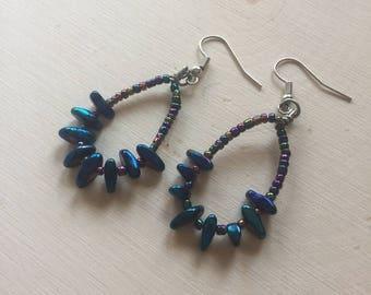 Blue dyed hematite earrings, hoop earrings, dangle earrings, hippie earrings, hippie jewelry