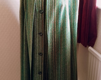 Vintage 1960's Mod Wool swing Cape Coat green rainbow tweed