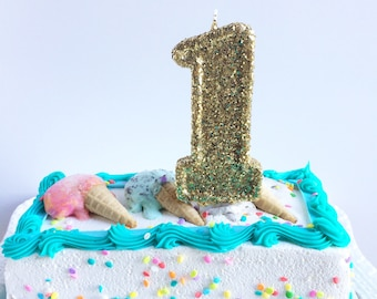 Large Gold Glitter Number One candle- First Birthday-Birthday Party Candles- Gold Party Decorations- Anniversaries- Make a wish