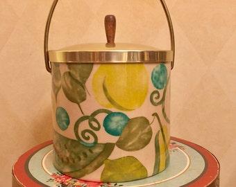 Retro Ice Bucket yellows, teal, green, blues