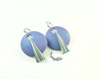 Bon voyage blue purple polymer clay earrings