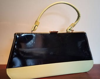 Apple green and black vinyl purse