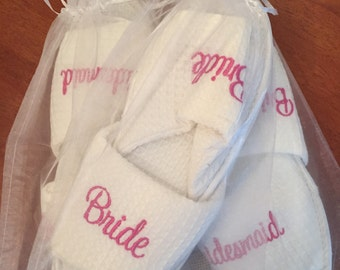 Bridal Party Spa Style Waffle slippers - many texts available!