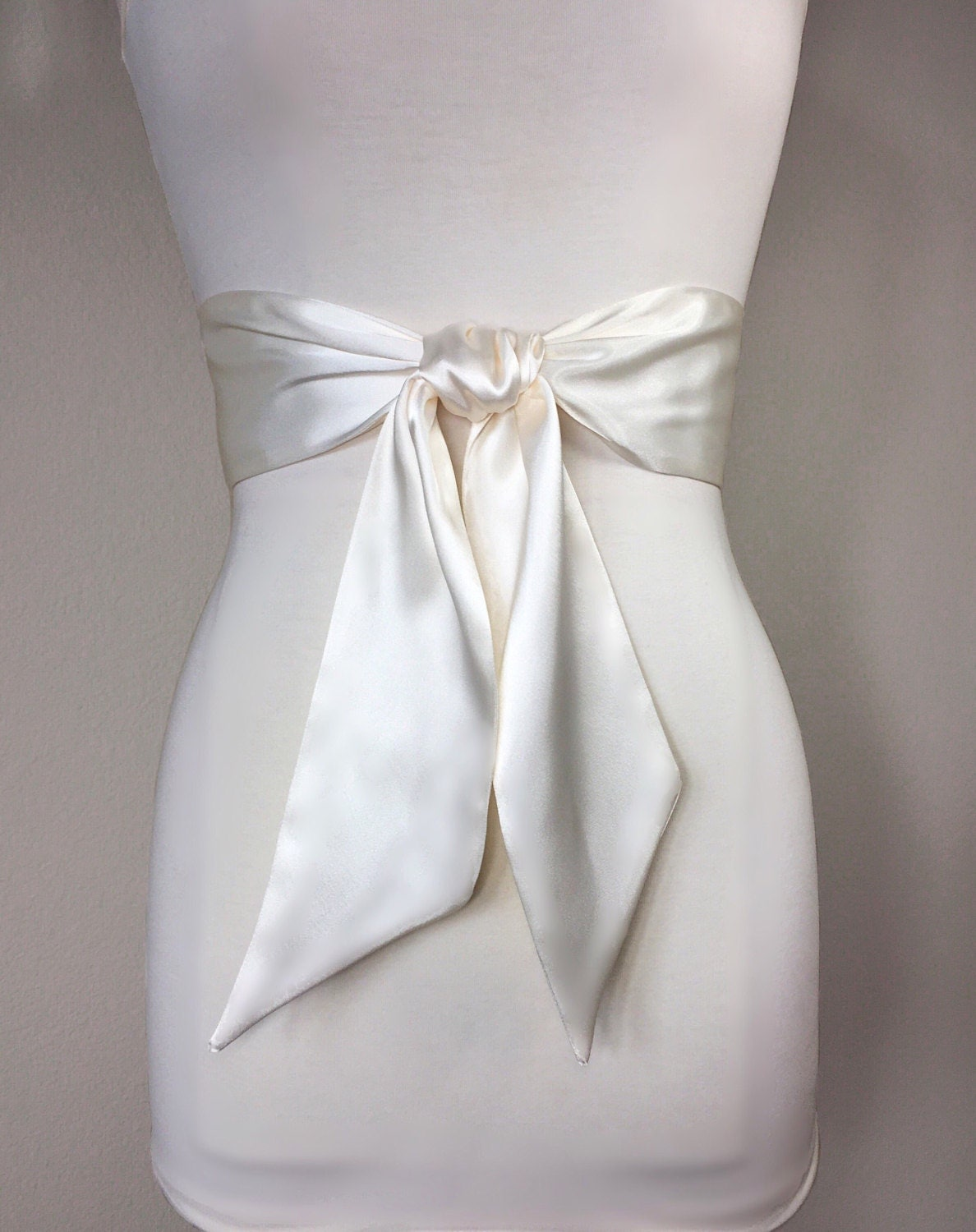 Ivory satin sash ivory sash belt wide ivory wedding dress for Satin belt for wedding dress