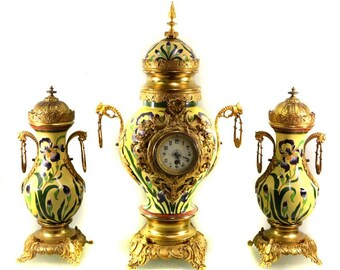 Large Antique French Louis XV style 3 pieces hand painted porcelain and ormolu clock set circa 1880