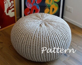 Knit pouf pattern etsy uk - Knitted pouf ottoman pattern ...