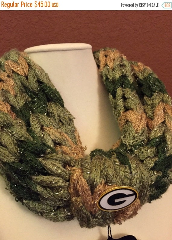BlackFridaySale Scarf Green Bay Packers, Football, Knitted, girlfriend, gift, mother, warmth, yarn