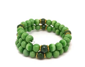 Green memory bracelet, green gold memory bracelet, green cat eye bracelet, green jewelry, memory bracelet