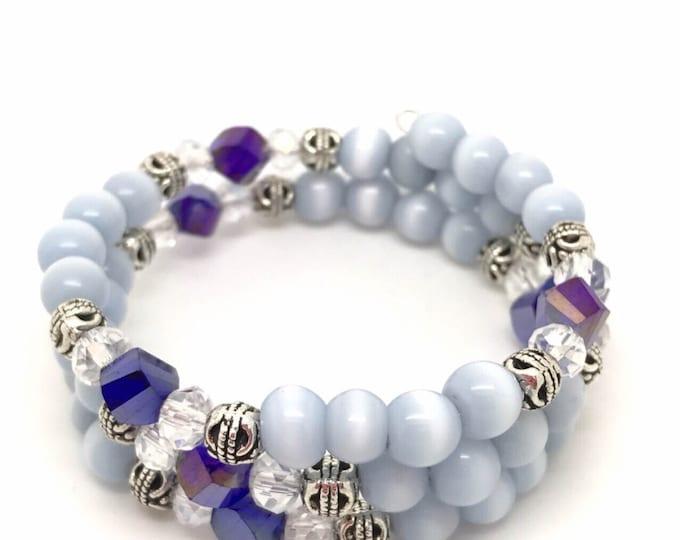 Blue memory bracelet, white memory bracelet, memory bracelet, white cat eye bracelet, white blue bracelet