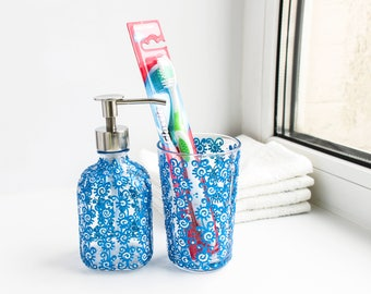 Glass soap dispenser - hand painted  soap or lotion pump with blue flowers, mother's day, hostess or housewarming gift