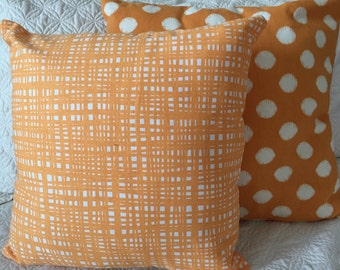 DECORATIVE PILLOW-Creamsicle Orange and white with  zipper enclosure (J)
