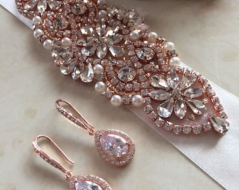 Rose gold wedding belt,rose gold bridal belt, rose gold bridal sash rose gold wedding sash bride bridal sash ivory pearls bridesmaid sash