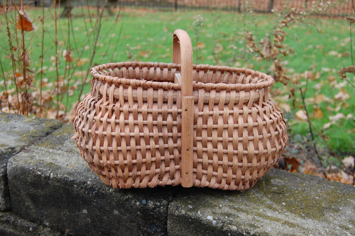 Handmade Baskets From Ohio : Berry basket handwoven handle euc amish made ohio kelly s