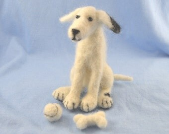 Needle Felting Kit Patch the Dog with Ball and Bone for beginners and improvers, Collectible, Puppy Dog, man's best friend, hobby, kit