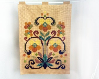 Vintage wall tapestry floral needlepoint bohemian wall hanging tapestry crossstitch wall decor