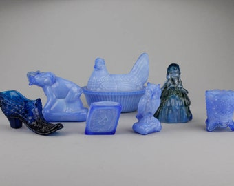7 Vintage Blue Boyd Glass Figurines, Starter Collection, Item237F