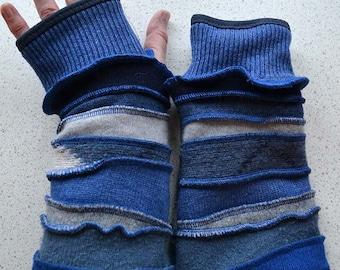 Katwise inspired lined blue Armwarmers / wristwarmer / fingerless gloves