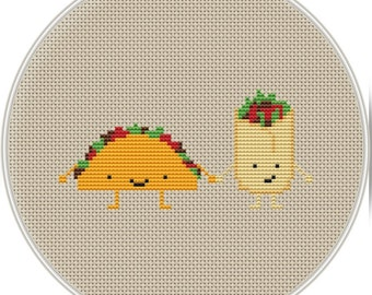 Cute burrito and tacos Cross Stitch Pattern, Kawaii Cross Stitch Pattern, funny cross stitch, cross stitch PDF, Instant download, MCS152