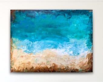 Large abstract painting,teal beige,large abstract,seascape abstract,original beach abstract,acrylic canvas,big wall art,beach house abstract