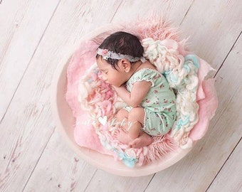 New! Merino Silk  Baby Handspun Glamlayer  Blanket Photo prop - Pink Turquoise -Boy Girl newborn Basket filler - Toddler Portrait-