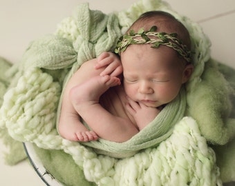 Merino  Baby Handspun Blanket Photo prop - Green Spring Sage- newborn Basket filler - Toddler Portrait