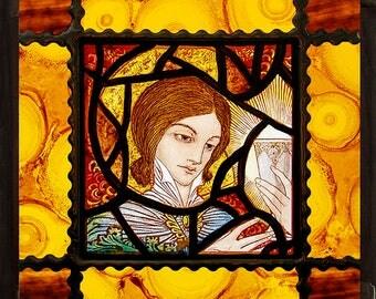 Angel kilnfired stained glass, Angel suncatcher, religious stained glass, Ange vitrail, Engel glasmalerei, religious glass, chalice, gift