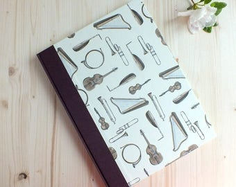 """8.5"""" x 11"""" Musician's Notebook -  Music Diary  - Composer's journal - Music partiture - Love musical"""