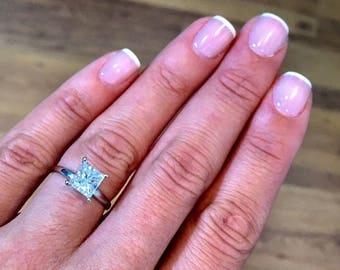 Engagement Ring 3 Carat Radiant Cut E VS1 Diamond Engagement Ring  14K White Gold  #J72443 FREE SHIPPING