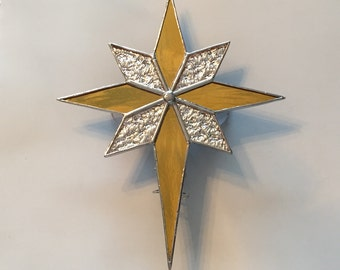 Handmade Stained Glass Silver and Gold Bethlehem Star Christmas Tree Topper