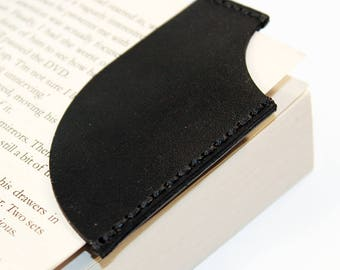Leather bookmark, Black bookmark, Bookmark Corner, Gifts for Booklover, Gifts for bookworms.