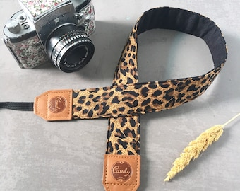 DSLR camera strap,Leopard Camera Strap, leather camera Strap Gift for her