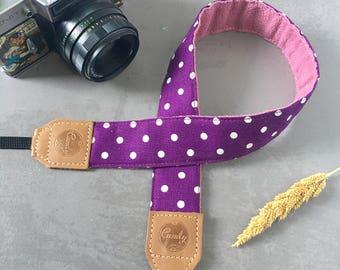 Clearance Purple  Polka Dot DSLR camera strap, Purple Polka Dot Camera Strap, leather camera Strap ,