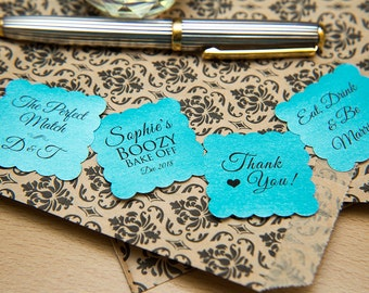 "50 Turquoise Pearlised 1.5 inch Square Shiny Stickers, Envelope Seals. Custom Stickers. 1.5"" Save the date stickers. Invitation Seals."