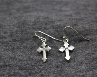 Sterling Silver Christ Cross Dangle  Earrings