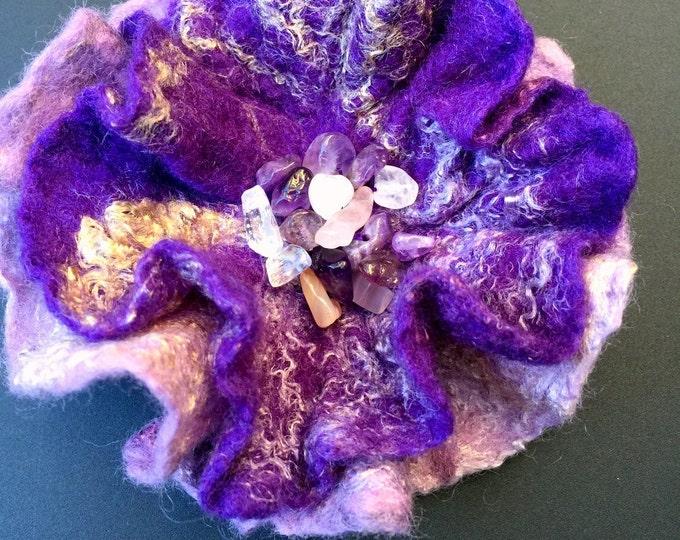 Merino Wool Silk Brooch Felted Fancy Dress Hat Shoulder Pin Stylish Nuno Felt Fashionable Accessories Soft Purple Round Brooch Fascinators