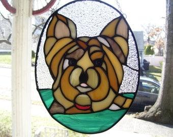 Stained Glass Yorkie Dog Suncatcher