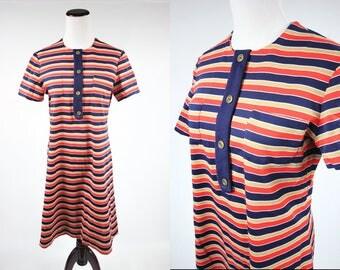 1960's Striped Orange & Navy Mod Pocket Shift Dress
