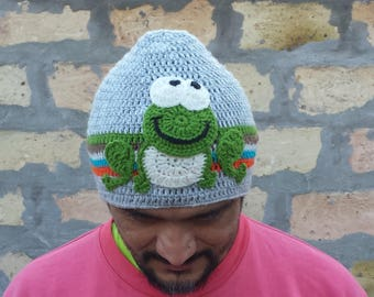 Frog hat,crochet hat,crochet frog,knitting hats,frog,characters hat,crazy hat