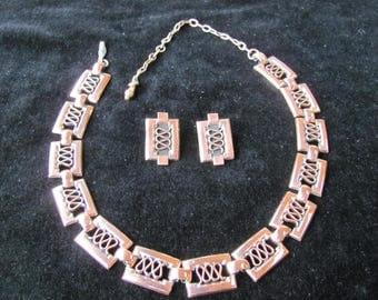 Renoir vintage Copper Necklace and Earrings