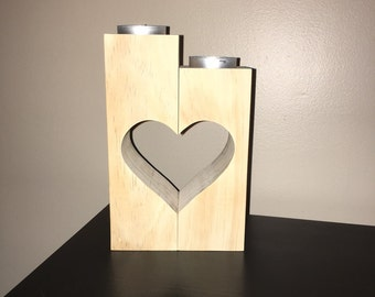 Wooden candle holders, Rustic heart candle holders, Decorative candle holder, Christmas gift ideas, Birthday gift, Wedding Decorations