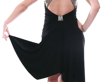 Milonga Dress with Open Back | Black Argentine Tango Dress | Elegant Tango Clothes