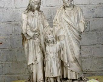 """XL Statue Holy Family Saint Joseph Virgin Mary Child White Plaster 19.88"""""""
